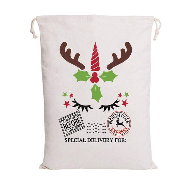 top popular Newest Christmas Santa Bags Santa Sack Drawstring Bag 6 Styles Canvas Candy Bags for kids gifts 2019