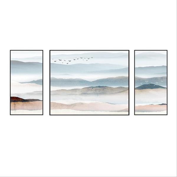 Acheter 2018 Nouveau Chinois Triple Peintures Moderne Simple Peinture Décorative Salon Créatif Peinture Atmosphère Restaurant Peinture Murale De