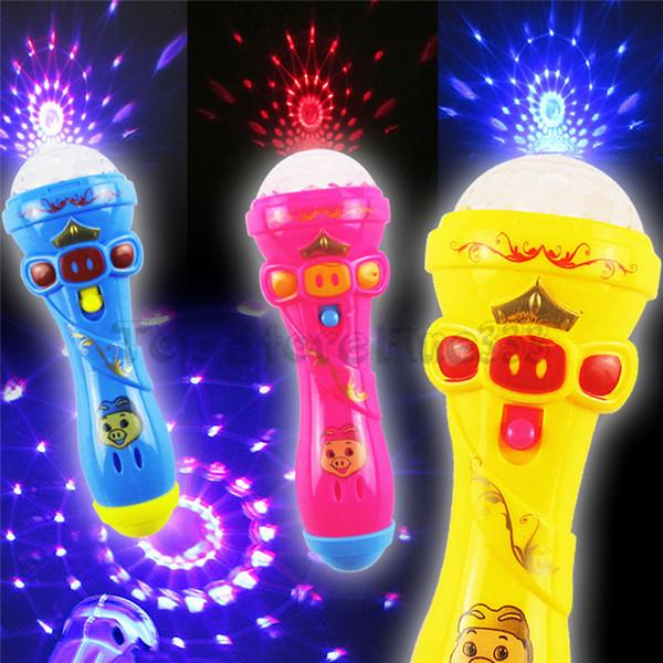 Starlight Shining Microfone Brinquedo Com Batter LED Lanterna Luz de Emergência das Crianças Crianças Flash de Flash Luminosa Microfone Partido Engraçado Brinquedos