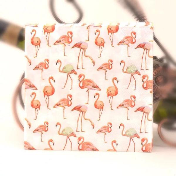2019 Fournitures De Fête Jetables Serviettes De Mariage Papier Fiançailles D'anniversaire Serviette En Papier Couleur Coupe Hôtel Serviettes Flamingos Serviette