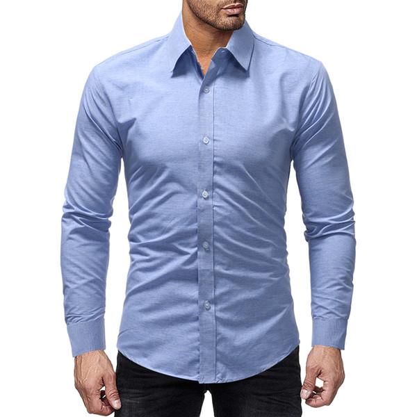 Marque 2019 Mode Homme Chemise À Manches Longues Tops Simple Et Couleur Pure Homme Hommes Robe Chemises Slim Hommes Chemise M-xxxl
