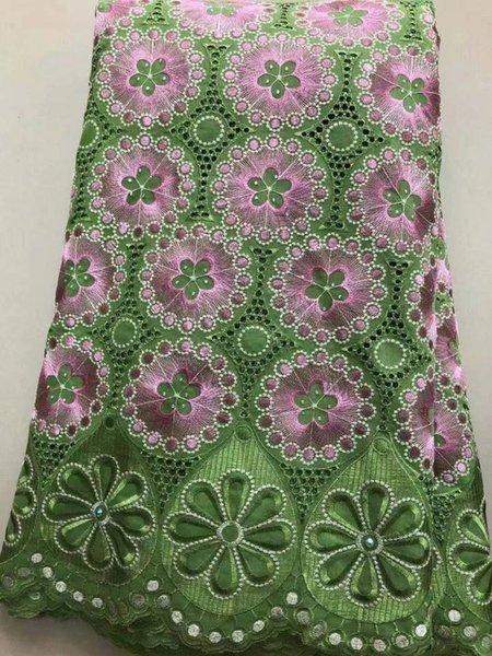 5Yards Splendido tessuto floreale in cotone verde e rosa con ricami in pizzo di voile svizzero con strass per abito LC11-7