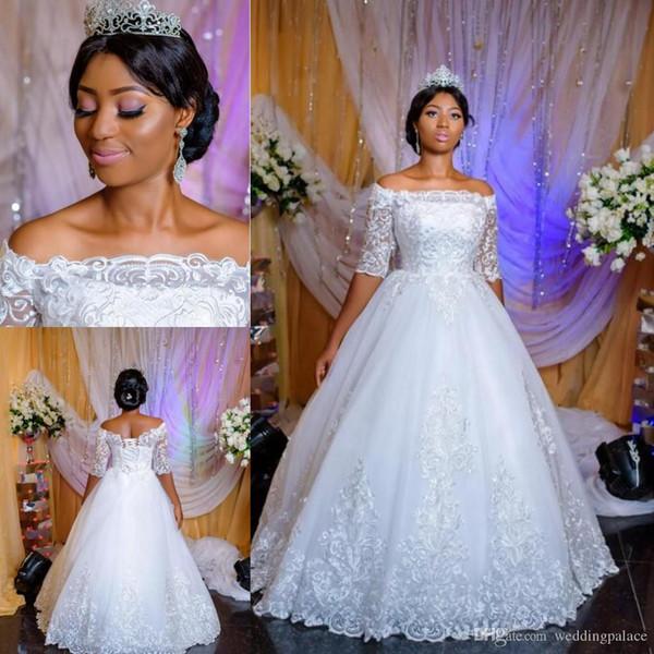 Arabic Nigerian A-line Wedding Dresses Sheer Neck Half Sleeves Backless Sweep Train Lace Up Back Wedding Bridal Gowns Custom