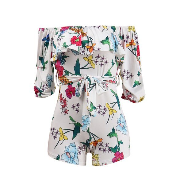 2019 Jumpsuit Fashion Sexy Print Stacked Sleeve Off Shoulder Bow Belt Women Striped Floral Rompers Short Pants Trendy Stylish Trousers