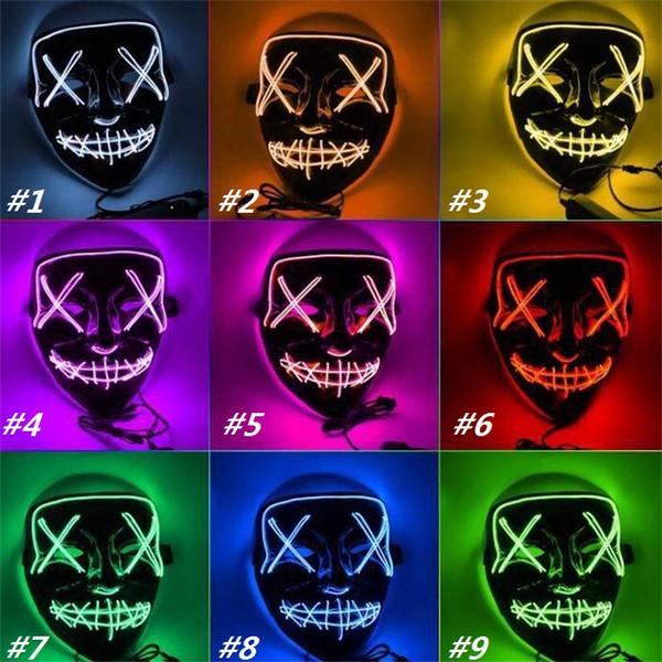 Novo LED Máscaras Brilhantes Máscaras de Halloween Partido Fantasma Dança Máscara LED Halloween Cosplay Partido Máscaras de Incandescência 5107