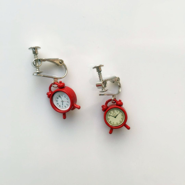 2019 new style earrings Japanese soft sister fun accessories cute retro small alarm clock earrings funny students earrings