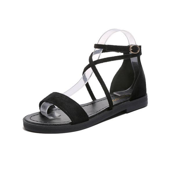 Sexy Hollow Out Sandalias de mujer Moda Dedo abierto Zapatos planos de mujer Zapatos de gamuza al aire libre Trabajo fresco Verano 2019 Nuevo