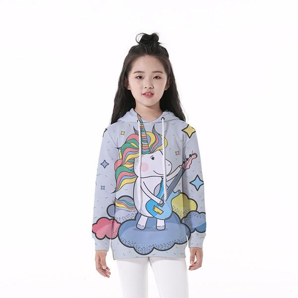 Kids Hoodie Guitar Unicorn 3D Digital Full Print Casual Boy Girl Hooded Sweatshirt Children Long Sleeves Unisex Sweatshirts (RLCLM-55072)