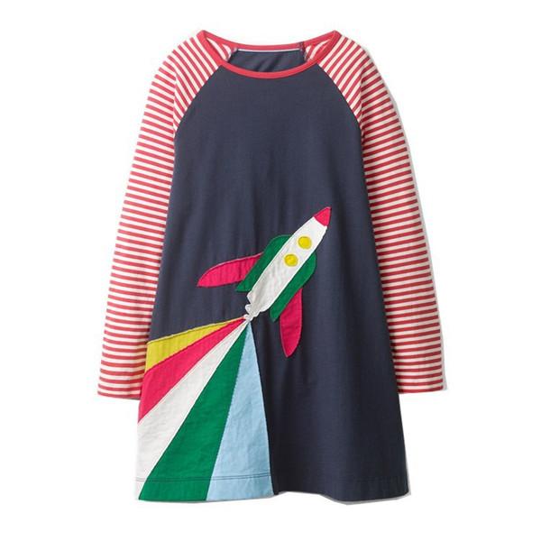 Rainbow Plane Girls Dress Pocket Striped Kids Children Girls Infant Spring Cotton Baby Girls Dress Designer Unicorn Children Outfits