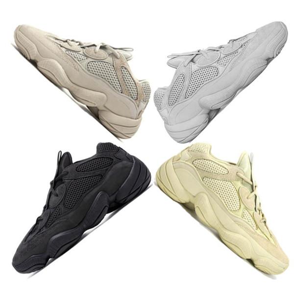 Salt Desert Rata Zapatos para correr Amarillo Negro Blush 2019 Zapato de diseño Zapatillas de deporte para hombre Zapatillas de deporte de cuero de vaca 3M reflectante 36-45