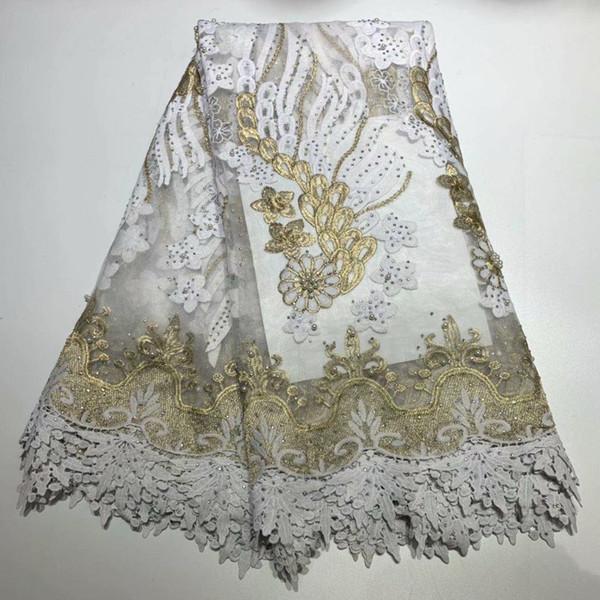 Promozione Incredibile tessuto di pizzo netto africano in pizzo africano Tessuto di pizzo francese di alta qualità con perline per abito da sposa