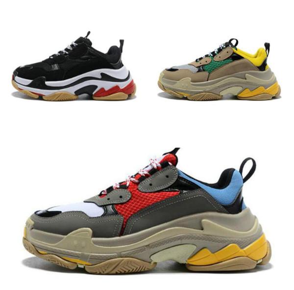 hot best Casual shoes quality Fashion Paris 17FW Triple-S Sneaker Triple S Casual Dad Shoes for Men Women Beige Black Sports Tennis Shoe