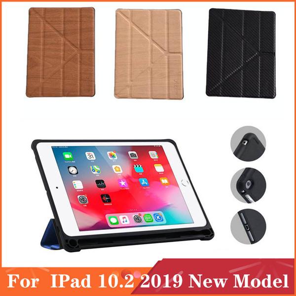 Para IPad 10.2 2019 Nuevo Modelo de madera del grano. Más pliegue FoldWallet tirón magnético de la PU del soporte del cuero cubierta de la caja