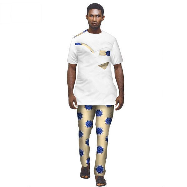 Fashion Mens African Clothing Plus Size O-neck 2 Pieces T Shirts and Pant Set Short Sleeve Top Plus Size WYN410