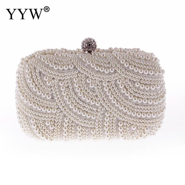 Mode Luxus Kristall Perle Weiß Abend Handtaschen Frauen Elegante Handtasche Hochzeit Dame Kupplungen Handtasche Tasche Heißer Verkauf