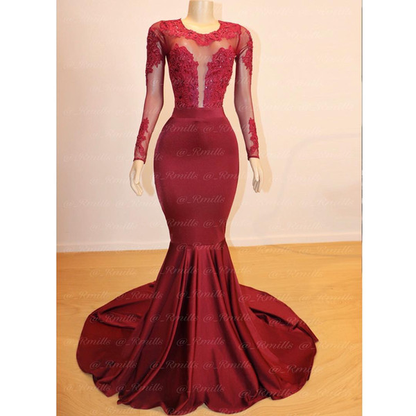 Burgundy Prom Dresses with Long Sleeve 2019 Mermaid Jewel Neck Bead Lace Evening Gowns Sheer Bust Cocktail Party Ball Dress Formal Gown