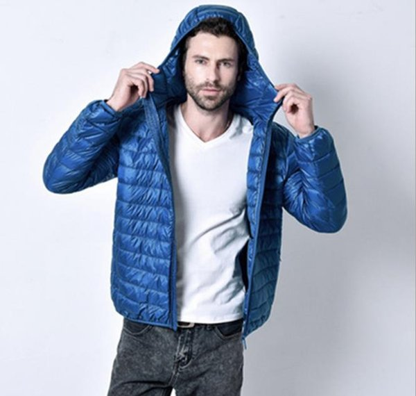 Herren Winter einfarbig Oberbekleidung Rundhalsausschnitt Reißverschluss Mode dünn mit Hut Langarm Homme Kleidung