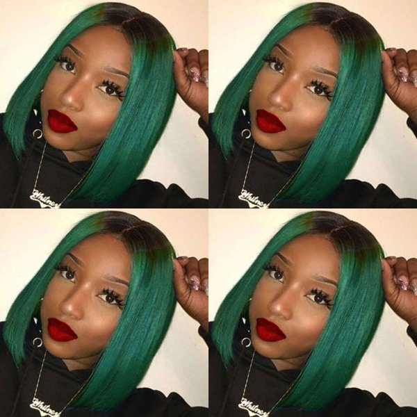 180% Density 4x4 Human Hair Bob Wigs For Women Ombre Blue/Green/Red/Purple Black Root Remy Brazilian Lace Front Human Hair Wigs