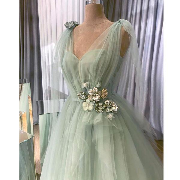 Довольно мята зеленый 3D цветок Пром платья V-образным вырезом оборками-line Пром платья V-образным вырезом кружева плюс размер вечернее платье