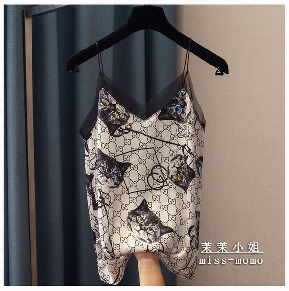 top popular 2020 new fashion women's sexy spagheti strap cat print cute v-neck vest camisole loose gauze patched satin tank tops 2020