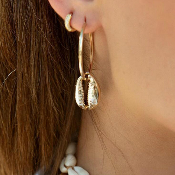 Sencillo color de moda de oro geométrico pequeño shell pendientes redondos para las mujeres de moda de señora diseño grande pendientes de gota conjunto de joyería
