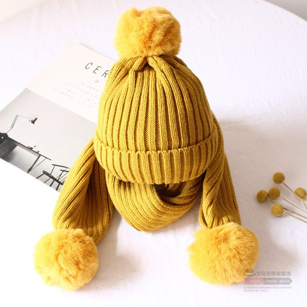 Kitted Winter Hat scarf Set for Child ring Scarves and hat for Boys girls Keep Warm Unisex Winter Pom Pom hats