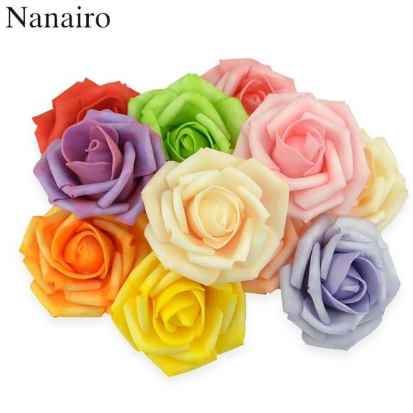 100pcs 7cm teinture artificielle pe mousse Roses fleurs têtes pour la maison décoration de mariage Scrapbooking embrassant balles faux fleur J190710