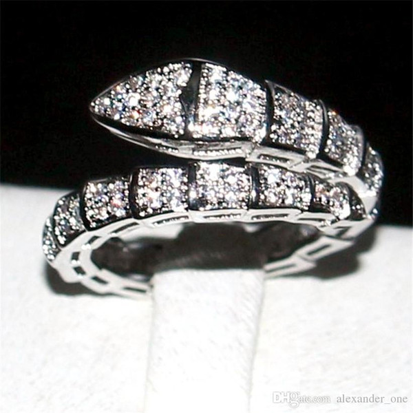 Pay4U Brand Snake Ring Fashion 10KT white gold filled Pave setting Full diamond cz rings Wedding Bride jewelry Band for Women Size 5-10