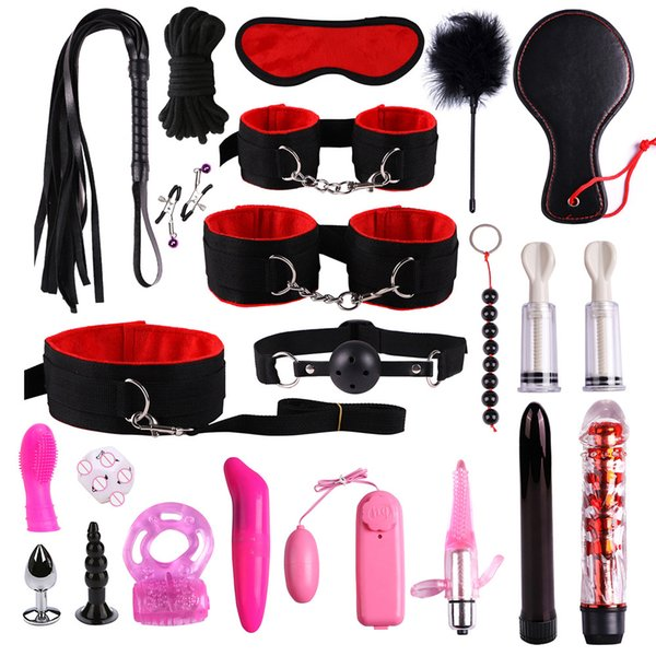 23 Pcs Sex Toys For Woman Adult Games Handcuffs Whip Mouth Gag Rope Metal Butt Plug Bdsm Bondage Set Bead Anal Plug Vibrator SH190730