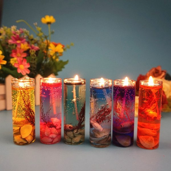 Aromatherapy Ocean Shells Candle Many Colours Gel Wax Heat-resistant Glass Candle Romantic Proposal Wedding Party Home Table Decoration