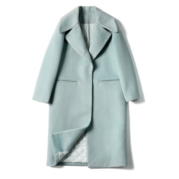 2019 зима новая корейская версия толстой шерстяной шерсти пальто Тонкий толстый длинный отрезок шерстяного пальто с длинными рукавами