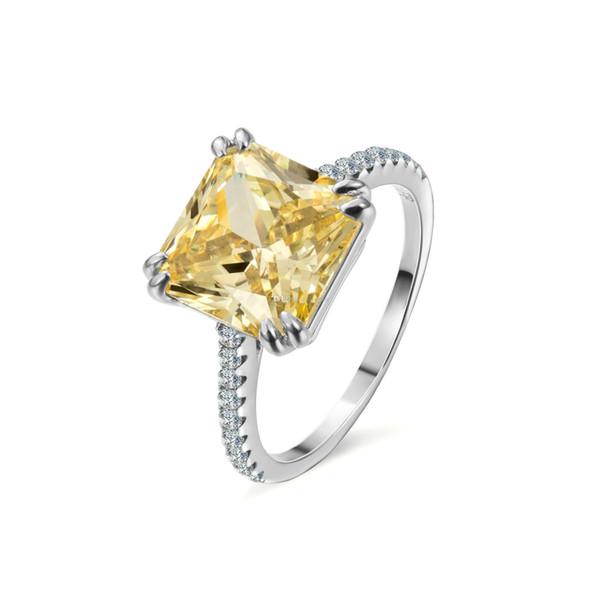 925 Sterling Silver Moda Desgin anel quadrado branco de pedra anéis para mulheres casamento jóias presente de noivado de Luxo embutidos pedra Anéis