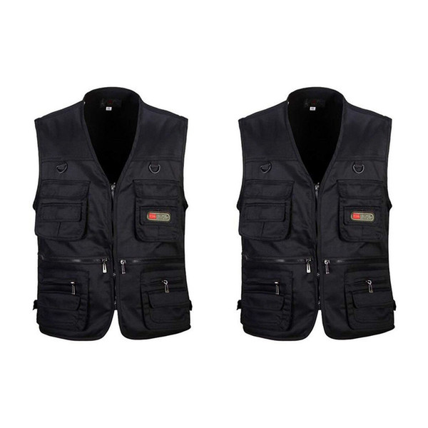 2 pcs men's fishing vest with multi-pocket zip for pgraphy / hunting / travel outdoor sport black, xxl & xl thumbnail