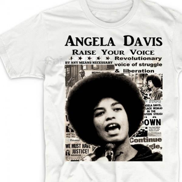 Печатные футболки экипаж шея короткого рукав случайной Анджелы Дэвис вокруг шее прохладной мужская футболка