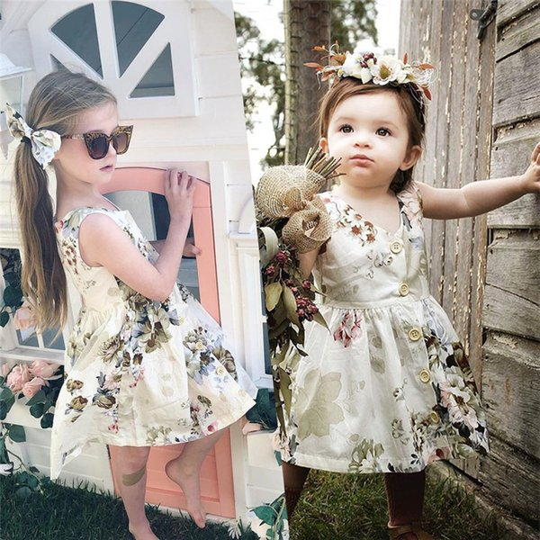 INS Baby Girls Summer Dress Sleeveless Floral Skirt Toddler Princess Dresses Button Decor Flower Girl Party Dress Birthday Gifts 2019 A3123
