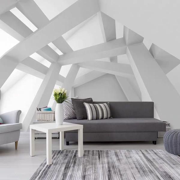 Bacaz 3d parede espaço concreto Wallpaper Murais Tunnel Extensão Adesivos Sombra Wall Decor Art para sala de estar Hotel Building