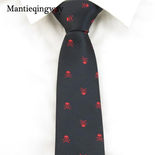 Mantieqingway 6 CM Dünne Krawatten für Männer Frauen Hochzeit Fliege Krawatte Zubehör Mode Schädel Gedruckt Krawatten Schwarze Krawatte