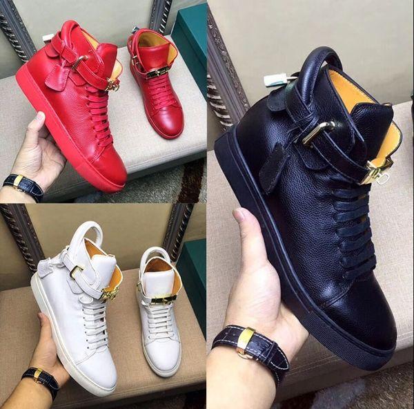 2019 nouveau style hommes casual chaussures serrure décoration appartements designer haut haut rouge blanc noir 38-46 hommes chaussures plates