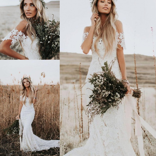 dressave / Custom Made Beach Lace Wedding Dresses 2019 New Cheap Off Shoulder Lace Short Sleeves A Line Wedding Bridal Gowns
