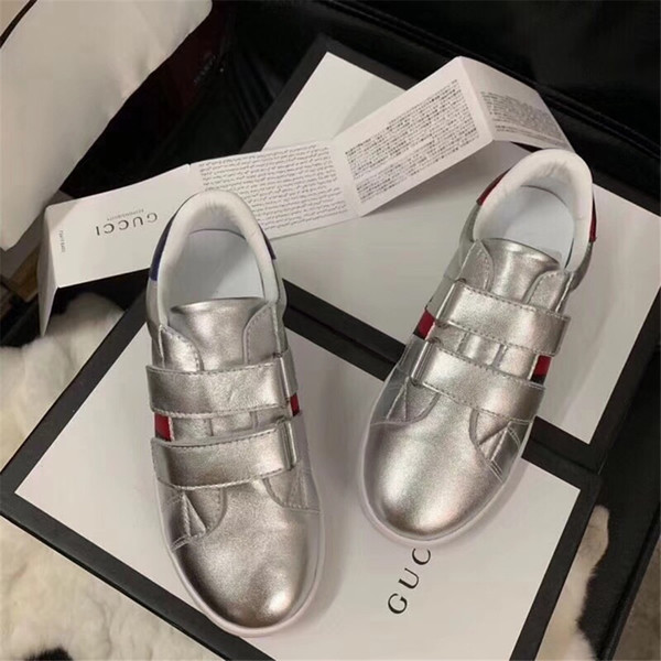 KIDS 2019 Autumn Children Fashion Slip-On Sport Sneakers Kid Leather Casual Shoes Baby Girl stripe Brand Trainer silver