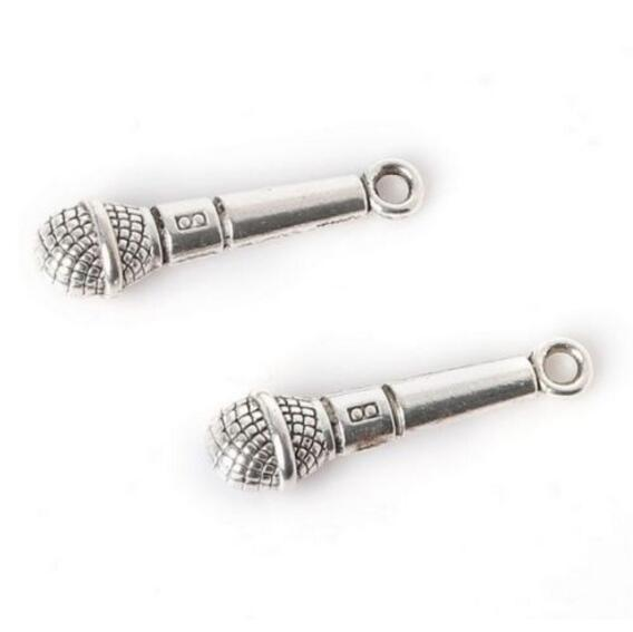 Tibetan Silver Microphone Charms Fit European Bracelet Necklace Earrings Fashion Jewelry Making Handcraft Accessories 200Pcs 27x7mm