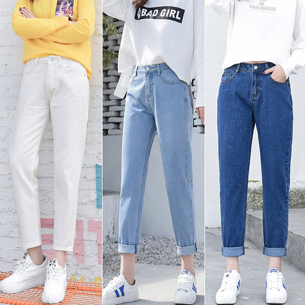 2018 Spring Summer Ripped Woman High Waist Boyfriend For Women Plus Size Blue Black White Denim Jeans Pants Trousers C19040401