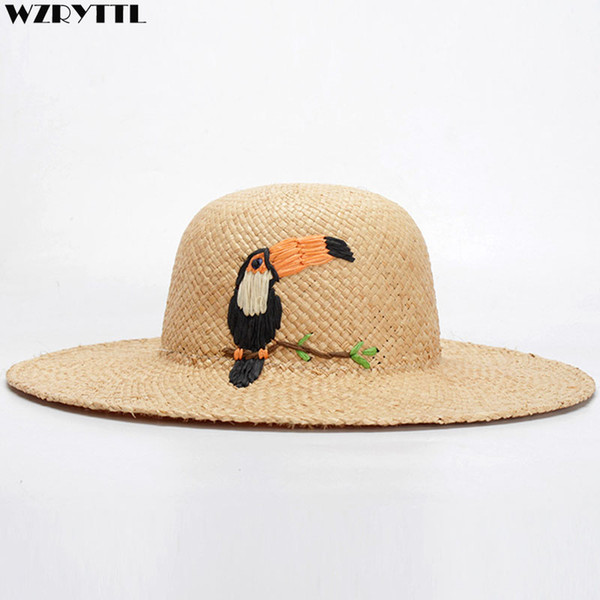 Frauen Strohhüte Klassische Sonnenblende Hut Neue Handgemachte Bast Vogel Palme Stickerei Breiter Krempe Sommer Strand Hut