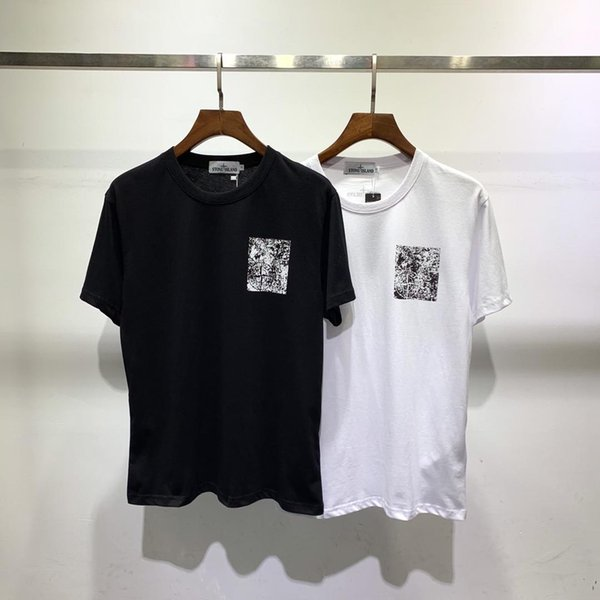 Q Les nouveaux hommes Un style T-shirt de mode petit sauvage col rond à manches courtes XX lettres de haute qualité modèle impression diamant chaud classique ST S-2XL