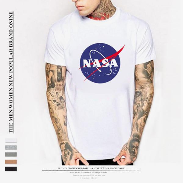 Maglietta da uomo in cotone estivo NASA Camicie Moda T-shirt con stampa Nasa Uomo T-shirt a maniche corte nera bianca Taglia S-3XL