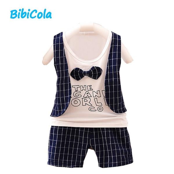 good qulaity summer baby boys clothes set infant clothing outfits plaid cotton top vest pants gentleman suit toddler boys short sets