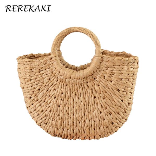 REREKAXI New Handmade Moon-shaped Women's Handbag Summer Woven Beach Bag Fashion Ladies Straw Bags Travel Shopping