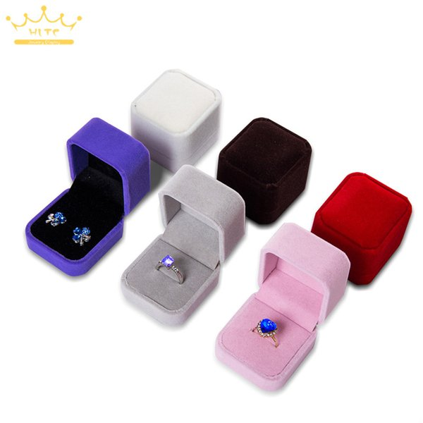 10pcs Engagement Velvet Ring Box Jewelry Display Storage Foldable Case For Wedding Ring Valentine's Day Gift Organizer 8 Color