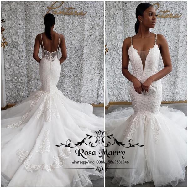 Sexy Plus Size Vintage Lace Mermaid Wedding Dresses 2019 Spaghetti Straps Court Train Tulle Arabic African Vestido De Novia Bridal Gowns