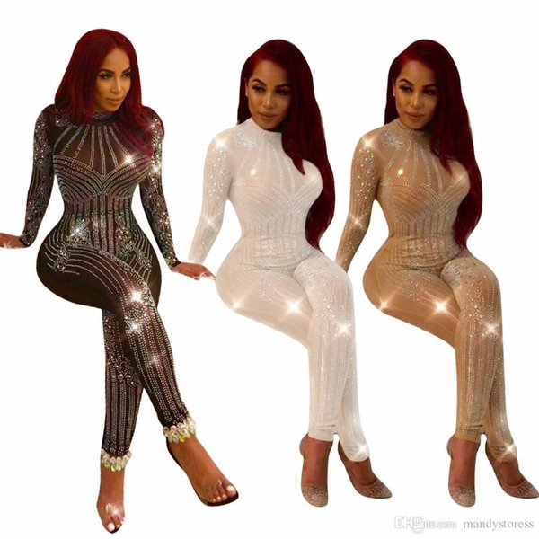 Sparkly Style Rompers Women Jumpsuit Full Length Sexy Club Jumpsuit Sequin Bodysuit Playsuit Q034